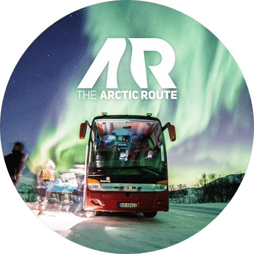 bus in nothern light. link to: https://www.bussring.no/the-arctic-route/